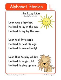 Alphabet Stories Letter L Reading Comprehension Worksheet. This helps your students build their reading comprehension skill and knowledge of the letter L. English Stories For Kids, Short Stories For Kids, English Worksheets For Kids, Kids English, English Teachers, Kids Stories, English Activities, Social Stories, Phonics Reading