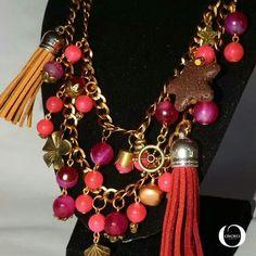 Oyoyo Gem Jam Necklace - Pink Jade, Fuchsia Agate, Brown Lava Stars, Terylene Tassels (details)