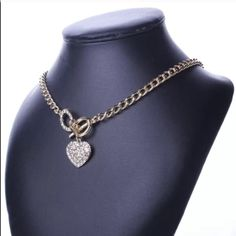 Pave Gold Heart Toggle Necklace Gold tone. NO TRADES Quinn-Tessential Designs Jewelry Necklaces