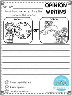 Free writing prompt: opinion writing for first grade. this is also great for kindergarten and second grade to build confidence in writing. Second Grade Writing Prompts, Opinion Writing Prompts, Kindergarten Writing Prompts, Persuasive Writing, Writing Worksheets, Writing Lessons, Teaching Writing, Writing Activities, Writing Skills