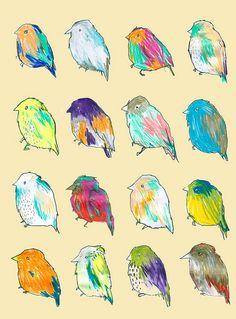 idéias de gravura - impressão simples uma cor com pastéis de óleo para colorir cada um de forma diferente