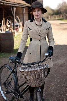 Lady Edith on her bicycle, Downtown Abbey