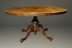 Exquisite Antiques: We believe woodworking is an artistic endeavor, and this stunning century antique oval tilt-top breakfast table fits that bill. Learn more on our website. Oval Table, Dining Table, Pedistal Table, Antique Chandelier, Restoration Hardware, Vintage Cars, 19th Century, Woodworking, Tilt
