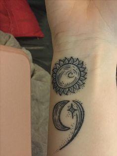 New tattoo semi colon sun moon and stars