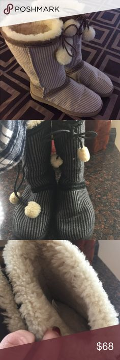 Stripe uggs Cute black and gray striped UGGs with Tie pom-poms size 5 but that's like a 6 UGG Shoes Winter & Rain Boots