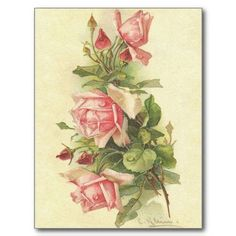Look at this stunning Catherine Klein pink roses postcard, found at Vintage Images: I have removed the background for a png digital version, and played around with it, creating both a border and a … Art Floral, Floral Vintage, Art Vintage, Vintage Cards, Vintage Postcards, Vintage Flowers, Vintage Images, Decoupage Vintage, French Vintage