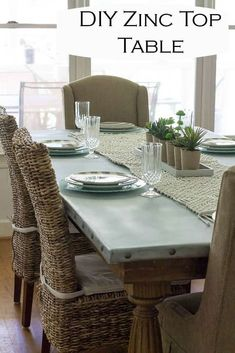 We built our DIY zinc top table using pine boards, farmhouse legs, and zinc. Upscale Furniture, Large Furniture, Sofa Furniture, Furniture Projects, Furniture Makeover, Diy Projects, Diy Table Top, Diy Dining Table, Metal Top Table