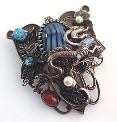 Fantasy dragon large pendant / brooch with blue