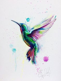- narteck on etsy - Watercolor Paintings Of Animals, Watercolor Artwork, Watercolor Illustration, Hummingbird Illustration, Watercolor Hummingbird, Hummingbird Art, Art Colibri, Vogel Illustration, Art Alien