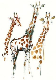 Watercolor giraffes by hiking artist . com