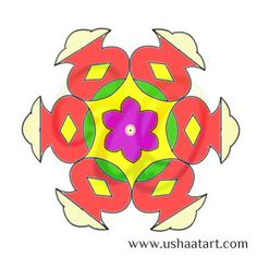 Flower Kolam 24 Step By Design