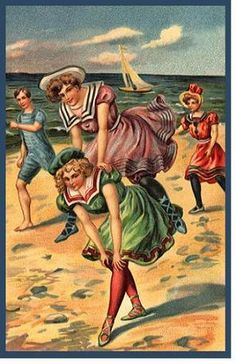 Divided Back Postcard Playing Leap Frog On The Beach In Old-fashioned Swimwear Swimsuits & Pinup Vintage Artwork, Vintage Prints, Vintage Illustrations, Vintage Pictures, Vintage Images, Vintage Kids, Vintage Ladies, Belle Epoque, Bathing Costumes