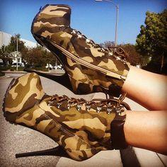 camo print lace up booties #gojane