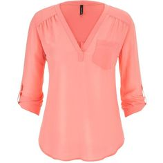 maurices The Perfect Blouse ($22) ❤ liked on Polyvore featuring tops, blouses, shirts, sandy peach, sleeve shirt, chiffon top, pocket shirt, layering shirts and chiffon blouse