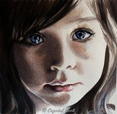 Her Soul Is In Her Eyes - Watercolor by Crystal Cook
