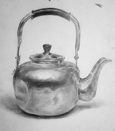 33 Tea Kettle Pencil Drawing Ideas – Welcome My World Shading Drawing, Pencil Sketch Drawing, Realistic Pencil Drawings, Basic Drawing, Pencil Art Drawings, Art Drawings Sketches, Drawing Ideas, Drawing Faces, Drawing Tips