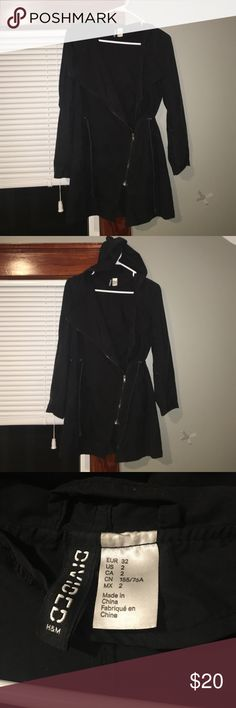 Hooded trench coat Gently worn H&M trench coat w hood & adjustable waist. H&M Jackets & Coats Trench Coats