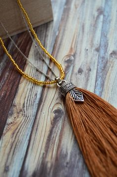 Items similar to Beaded Chain / Leaf charm / Tassel Necklace on Etsy Tassel Necklace, Necklaces, Ladies Accessories, Stainless Steel Chain, Bead Caps, Seed Beads, Antique Silver, Glass Beads, Tassels