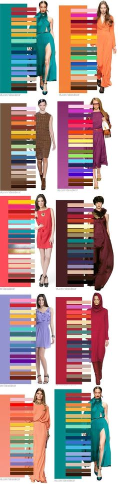 Сочетания цветов - одежда - гардероб - вдохновение - Great Color Combinations  Interesting...and helpful for those like me who are fashion-challenged!