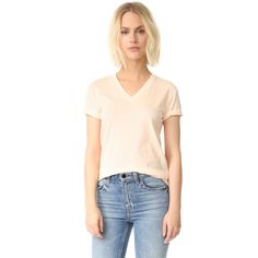 T By Alexander Wang Superfine Short Sleeve V Neck Tee ($120) ❤ liked on Polyvore featuring tops, t-shirts, v neck tops, short sleeve tee, short sleeve v neck t shirt, short sleeve t shirts and vneck t shirts