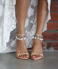 Grace Loves Lace | Paired with the gorgeous, strappy silhouette of our Dosa heel, the Hera anklet creates a gorgeously raw yet refined and sophisticated jaw-dropping combination. Perfect wedding shoes for the chic boho bride.  Shop now www.graceloveslace.com.au #weddingshoes #weddingheels #leatherheels