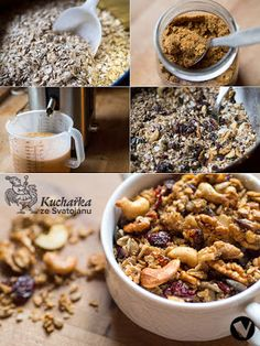 Kuchařka Ze Svatojánu: Granola Granola granola s jablky Granola, Muesli, Cookie Recipes, Cereal, Food And Drink, Paleo, Healthy Recipes, Cookies, Baking