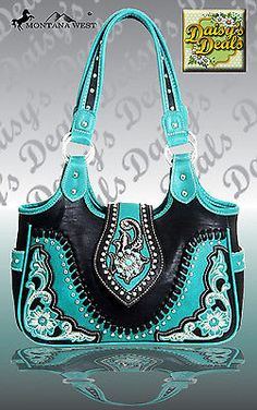-Montana West Turquoiae Concho Collection Shoulder Handbag