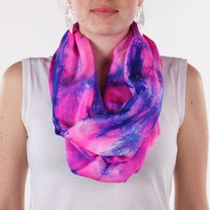 Infinity pink and blue silk scarf / shocking pink by CeliaEtcetera