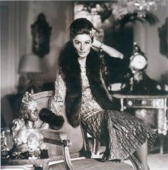 Anouk Aimee wearing gold brocade dress and fur-trimmed jacket by Chanel, photo by Henry Clarke for Vogue 1963 Vintage Vogue, Vintage Glamour, Vintage Fashion, Vintage Fur, Vintage Chanel, Vintage Style, Gold Brocade Dress, Brocade Dresses, Elsa Peretti