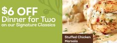 Print an Olive Garden coupon good for $6 off any two Signature Classics Dinner Entrees from Olive Garden.