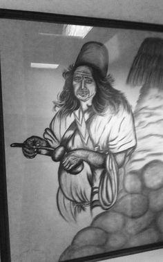 Pintura en carboncillo autor José Venecia, tema indígena  colombiano costa atlántica