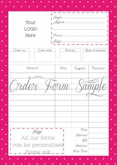 Order Form Custom Order Form Printable - Work at Home - PDF FILE - Personalised With your logo - It can be edited (3.50 GBP) by WhataQuirky