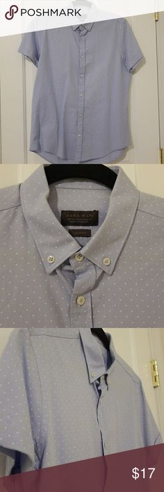 "Zara Man Slim Fit Button Down Shirt Size M Slim fit. 100% cotton. Perfect condition. Polka dot baby blue and white. Smoke and pet free home. Only worn once. 30"" long. 20"" arm pit to arm pit. Zara Shirts Casual Button Down Shirts"