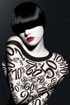 Unknown artist - black and white photograph of a woman with numbers projected onto her body. Black White Red, White Art, White Style, Arte Yin Yang, Doll Parts, The Chic, Black And White Photography, Splash Photography, Colour Photography