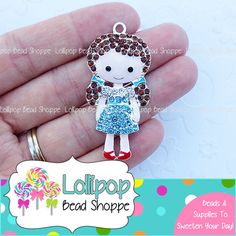48mm Dorothy Rhinestone Pendant Ruby Slippers Girl  Pendant Chunky Necklace Pendants Bubblegum Beads Bubble Gum Beads by Lollipop Bead Shoppe on Etsy