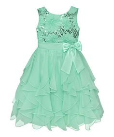 http://www.zulily.com/invite/vhanson979 Spring Green Sequin Daisy Cascade Dress - Infant #zulily #zulilyfinds