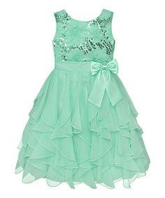 http://www.zulily.com/invite/vhanson979 Spring Green Sequin Daisy Cascade Dress - Infant #zulily #zulilyfinds