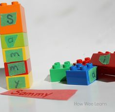 This is one of my favorite name activities for preschoolers - ideal for busy kids! Snapping the blocks together strengthens fine motor skills, and building names strengthens literacy skills! Can do with sight words Preschool Name Recognition, Name Activities Preschool, Kids Learning Activities, Learning Letters, Alphabet Activities, Fun Learning, Toddler Activities, Letter Recognition, Early Learning