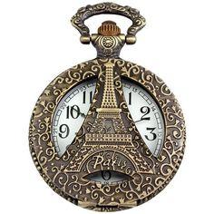 AMPM24 Bronze Mens Women Eiffel Tower Dangle Pendant Vintage Pocket Quartz Watch with Chain by womenswatchesi