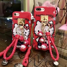 i6/6s New Cute hello kitty soft tpu silicon phone case For iphone 6 6s 7 plus with bell Pendant strap rubber back cover