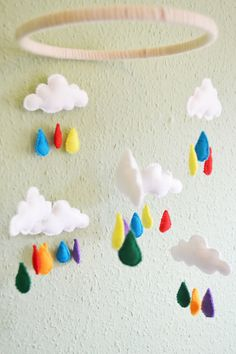 Excited to share the latest addition to my #etsy shop: baby mobile, felt mobile, cloud mobile, cloud and rain mobile, nursery decor, colourful mobile, childrens mobile, rainbow mobile, baby decor Cloud Mobile, Felt Mobile, Mobile Baby, Baby Mobiles, Rainbow Nursery, Rainbow Room, Nursery Crafts, Nursery Decor, Stall Decorations