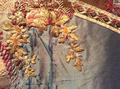 Elizabeth Parkhurst Williams Crazy Quilt 1884-90 Forget-me-nots. CQ Vintage, gold