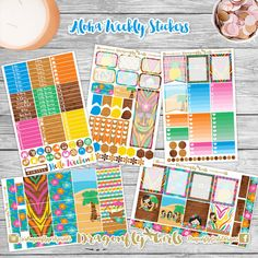 New!! Aloha Planner Stickers | 5 Page Weekly Kit | ECLP, MAMBI, Kikki K, Kate Spade, Filofax, Websters, Color Crush