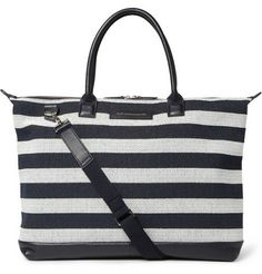 Lindbergh Striped Leather-Trimmed Canvas Tote Bag
