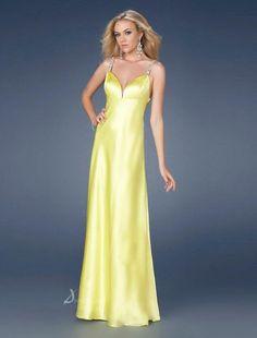 Long Yellow V-Neck Elegant Simple Evening Dress3BA0324