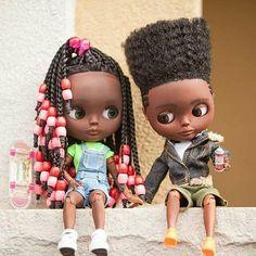OH MY GOLLY! Look at these amazing dolls @thequeendollylama -  My newest youts. Siblings, twin love!  Maiya & Marcus.  #queendollyama #dollartist #blackdolls #reimaging #recreating #customdolls #ooakdolls #oneofakind #uniquedolls #blythe #blackblythe #brownstonekids #naturalhairstyles #braidsandbeads #singlebraids #boxbraids #hightopfade #lineup #melanin #blackboy #blackgirl #blackyouth #throwback #nostalgia #hiphopculture #graffitiwriter #skatergirl #hiphop #80skids #90skids