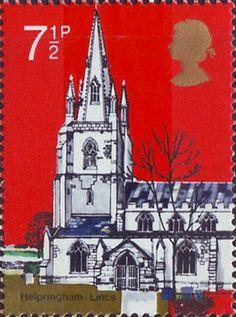Village Chruches 7.5p Stamp (1972) St Andrew's Helpringham, Lincs