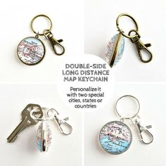 Double sided Map Keychain / Long Distance by salvagedstudiomke