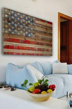 American Dream - Distressed Wood Wall Art.