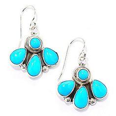 "Dine Spirit™ Sterling Silver 1.25"" Sleeping Beauty Turquoise Handmade Earrings"